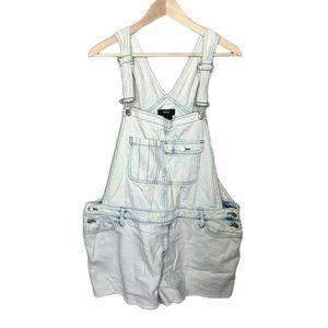 Mossimo Overall Bibs Shorts White Denim Jean Sz XL